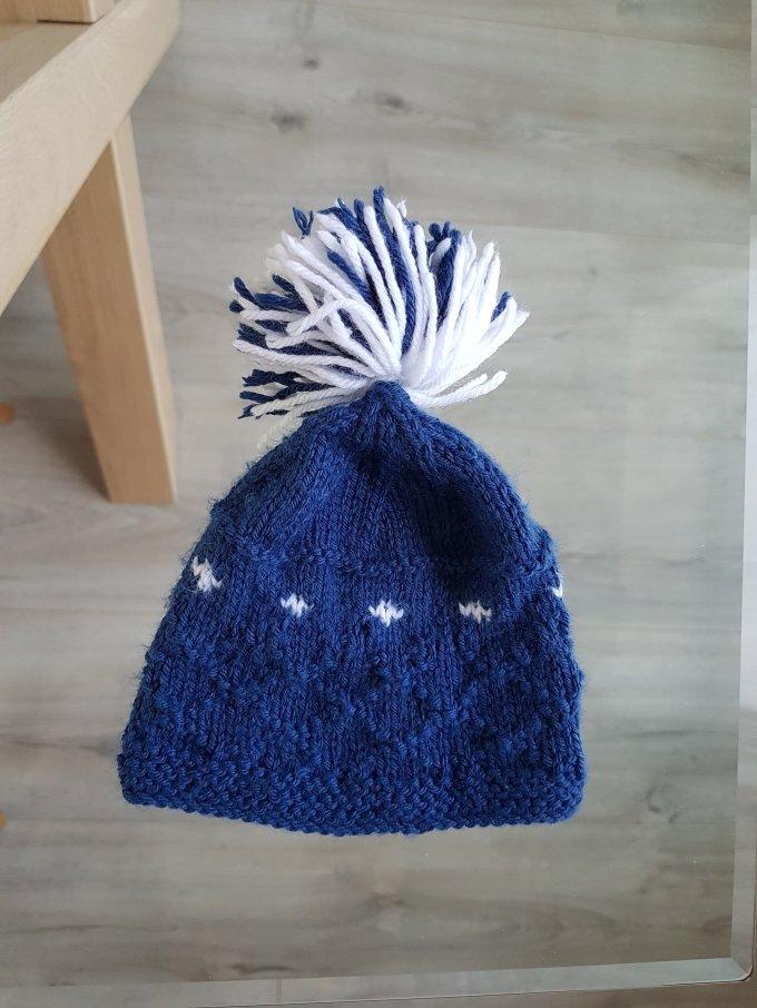 Madame Anne So Tricot bébé bonnet Jacquard pompon