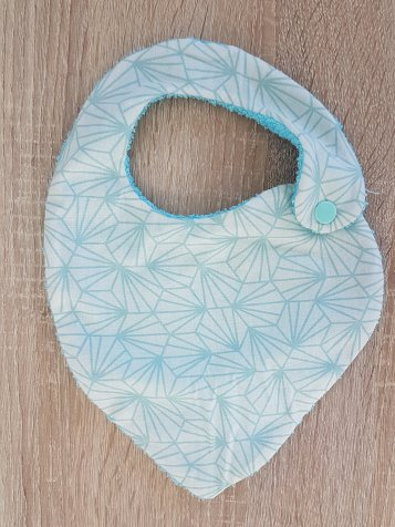Madame AnneSo_Bavoir bandana pour bébé côté pile bleu